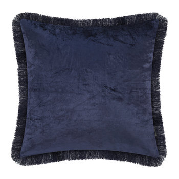 Tassel Fringed Velvet Cushion - 50x50cm - Navy