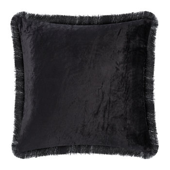 Tassel Fringed Velvet Cushion - 50x50cm - Black