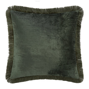 Tassel Fringed Velvet Cushion - 50x50cm - Moss