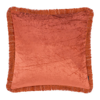 Tassel Fringed Velvet Cushion - 50x50cm - Burnt Siena