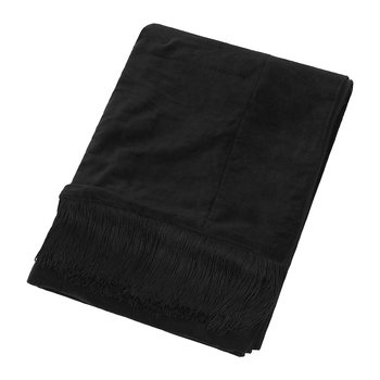 Velvet Tassel Fringe Throw - 130x170cm - Black