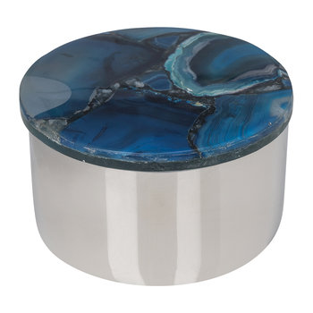 Agate Topped Silver Trinket Box - Blue