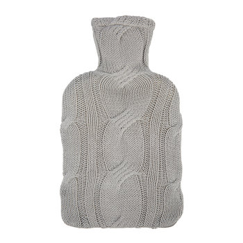Cable Knit Hot Water Bottle - Dark Gray