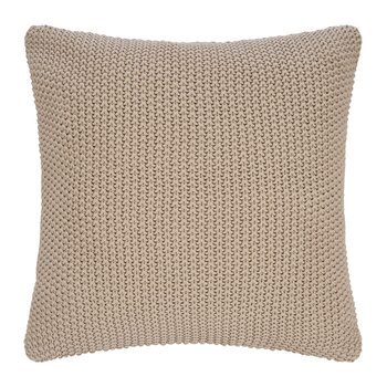 Tan Knitted Cushion - 45x45cm