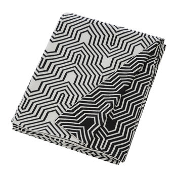 Geometric Knitted Throw - Black/White
