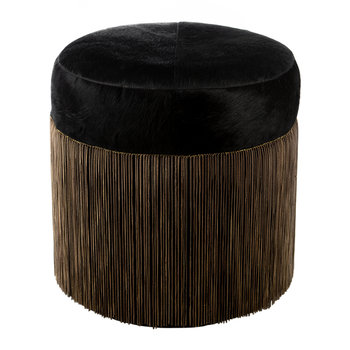 Cowhide Chain Pouf - Black/Copper