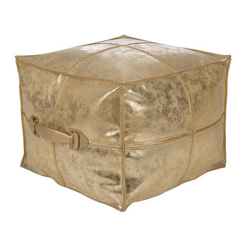 Metallic Leather Pouf - Gold