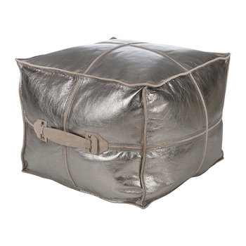 Metallic Leather Pouf - Silver