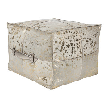 Acid Burnt Cowhide Pouf - Gold