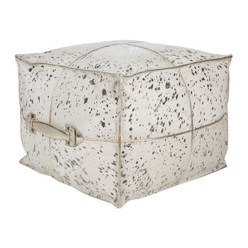 Acid Burnt Cowhide Pouf - Silver