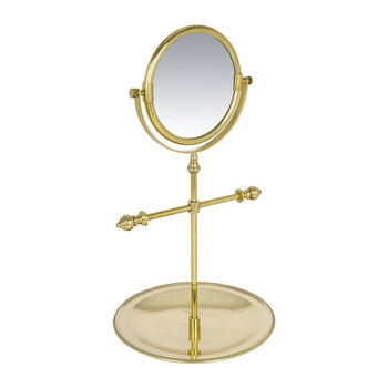 Freestanding Mirror with Jewelry Tray - Antique Gold