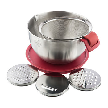 Stainless Steel Mixing Bowl with Grater Attachments