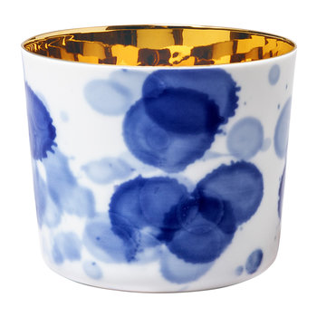 Sip of Gold Champagne Goblet - Blue & White - Drops
