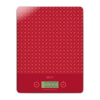 Digital Scales with Integrated Bowl Scraper - Red