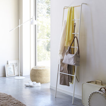 Leaning Ladder Storage Rack - White