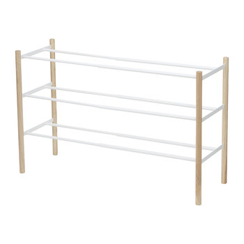 Extendable Three Tier Shoe Rack - White