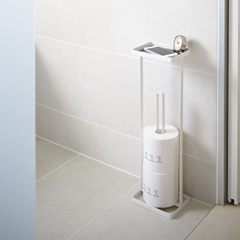 Toilet Roll Stand & Tray - White