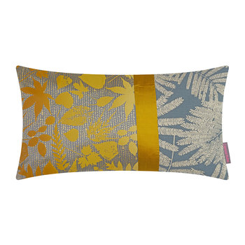 Falling Leaves Patchwork Pillow - Turmeric/Storm/Lemon - 30x50cm