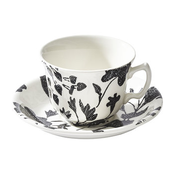 Garden Vine Teacup and Saucer - Black