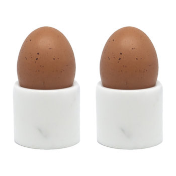 White Marble Egg Cups - Set of 2