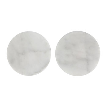 Round Marble Coasters - Set of 2 - White