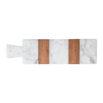 Marble & Wood Striped Serving Board - Narrow
