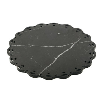 Scalloped Edge Marble Platter - Black