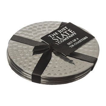 Flat Hammered Steel Coasters - Set of 4