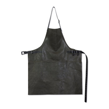 BBQ Style Leather Apron - Vintage Gray/Black