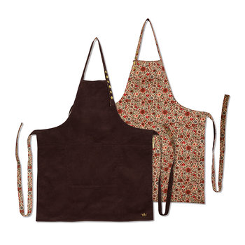 Reversible Series Apron - Purple Corduroy & Flower Fields