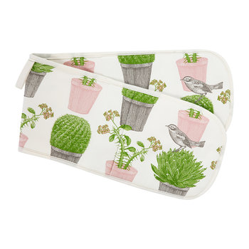 Cactus & Bird Double Oven Gloves