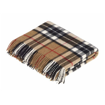 Merino Lambswool Tartan Throw - Camel Thompson