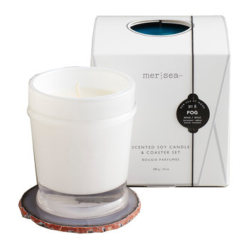 Scented Candle with Agate Coaster - Fog