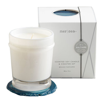 Scented Candle with Agate Coaster - Saltaire