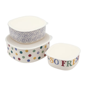 Polka Dot Melamine Storage Containers - Set of 3