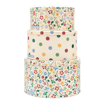 Polka Floral Round Tins - Set of 3