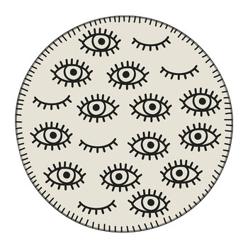 Eyes Round Placemat - Cream/Black