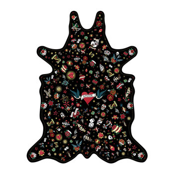 Tattoo Amore Vinyl Floor Mat - Black