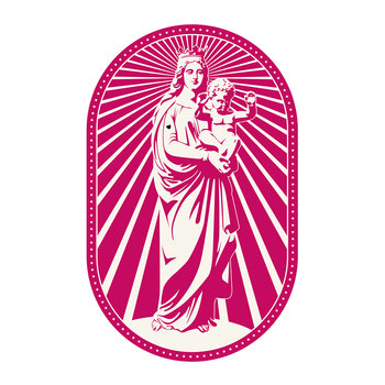 Woman and Baby Statue Vinyl Floor Mat - Pink