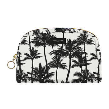 Palm Trees Make-Up Bag - Black/White