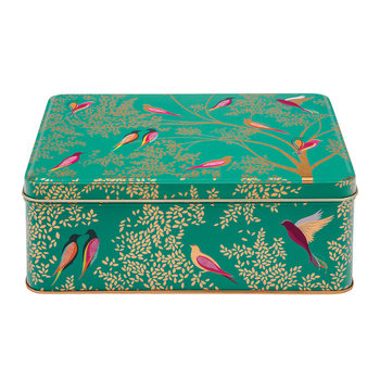 Green Birds Rectangular Tin