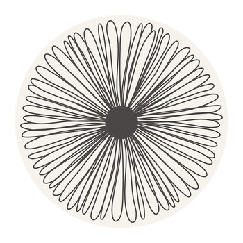 Flower Round Placemat - White/Black