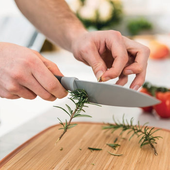 Leo Small Chef's Knife with Herb Stripper - Gray