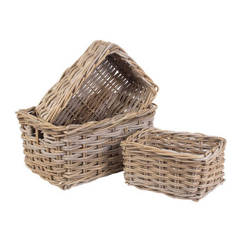 Rectangular Grey Rattan Storage Basket Set 3 - Set of 3