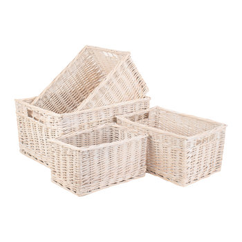 White Wash Storage Basket Set 4 - Set of 4