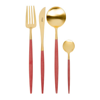 Goa Cutlery Set - 24 Piece - Red/Gold
