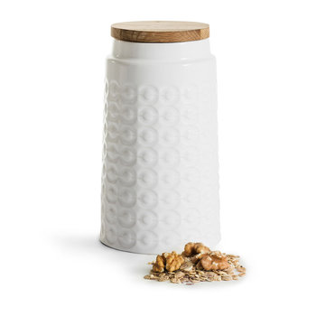 Nature Ceramic Jar with Oak Lid