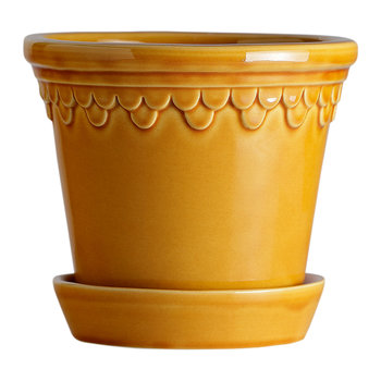 Copenhagen Glazed Plant Pot and Saucer - Amber