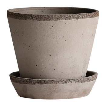 Julie Plant Pot and Saucer - Grey