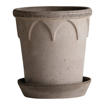 Elizabeth Plant Pot and Saucer - Grey